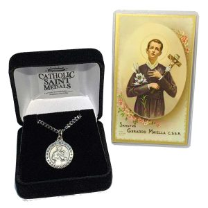 St Gerard Medal on chain with Prayer Card