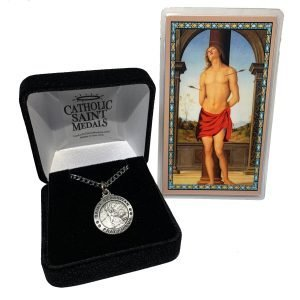 St Sebastian Medal and Holy Card Deluxe box