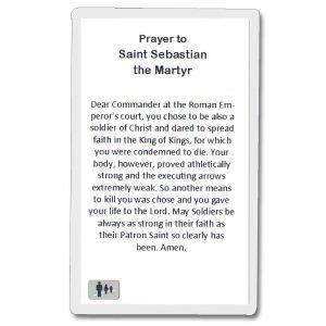 Back of St Sebastian Holy Card - Has Prayer on it