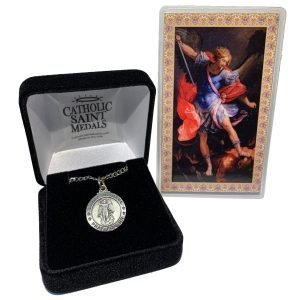 Pewter St Michael medals with Holy Card and Deluxe Box