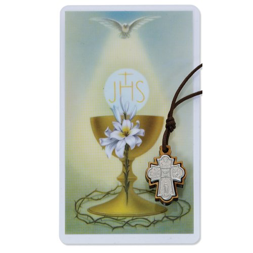 4-Way Olive Wood with First Communion Holy Card