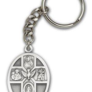 Antique Silver 5-Way / Holy Spirit Keychain