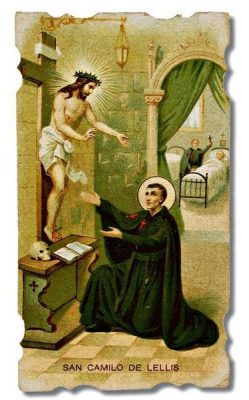Holy card image of St. Camillus before the crucifix