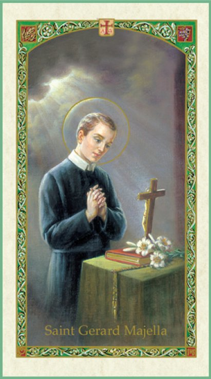 Holy card depicting St Gerard