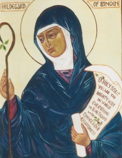 St Hildegard with a staff