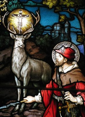 Saint Hubert and the Stag Stained Glass Window