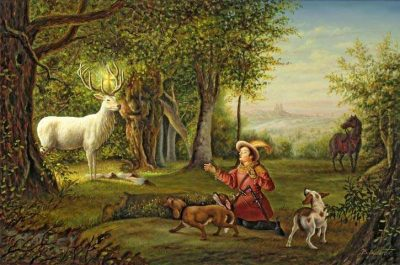 St Hubert and His Dogs Meet the Stag Painting