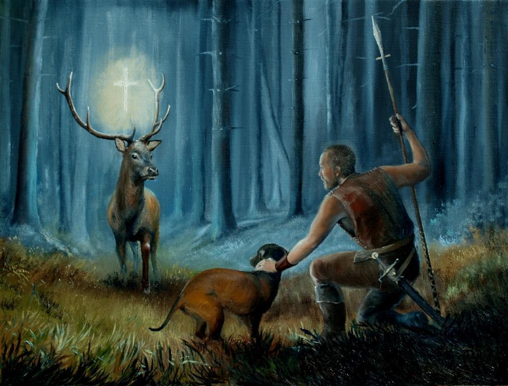 St Hubert with Dog and Stag Painting