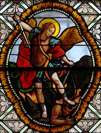 Stained Glass Window of St-Michael, Saint Martin de-Florac, France