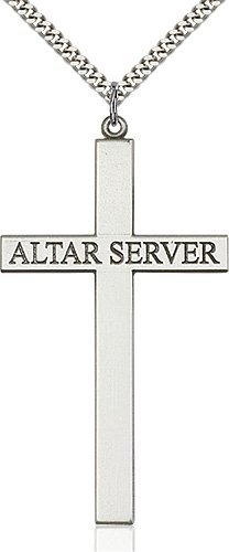 Sterling Silver Alter Server Cross Necklace #87823
