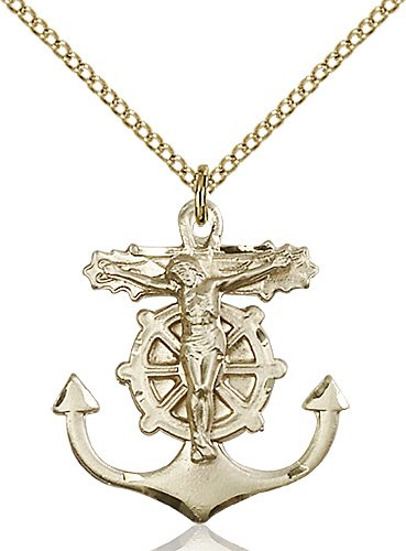 Gold Filled Anchor Crucifix Necklace #87764