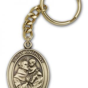 Antique Gold St Anthony Keychain