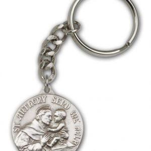 Antique Silver St Anthony Keychain