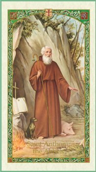 St Anthony of Egypt Holy Card