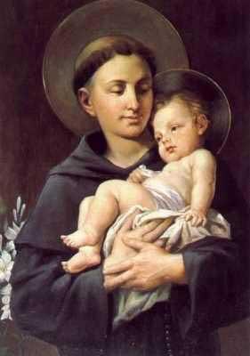 St Anthony holding the infant Jesus