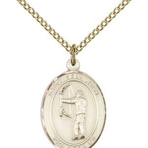 Gold Filled St. Sebastian / Archery Pendant