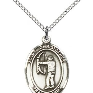 Sterling Silver St. Christopher/Archery Pendant