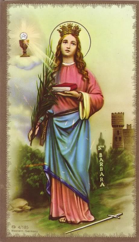Saint Barbara Holy Card