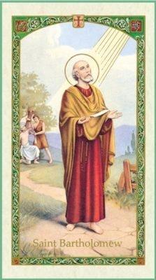 St Bartholomew Holy Card