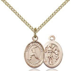 Gold Filled St. Sebastian/Baseball Pendant