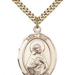 Gold Filled St. Rita / Baseball Pendant
