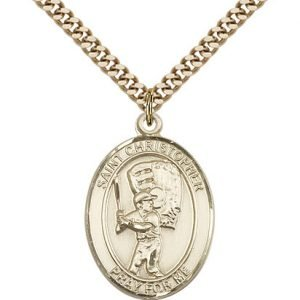 Gold Filled St. Christopher/Baseball Pendant