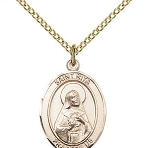 Gold Filled St. Rita of Cascia / Baseball Pendant