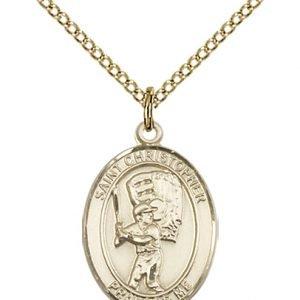 Gold Filled St. Christopher/Baseball Pendant