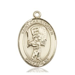 14kt Gold St. Christopher/Baseball Medal