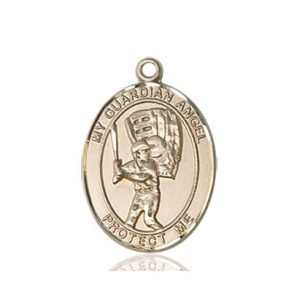 14kt Gold Guardian Angel / Baseball Medal