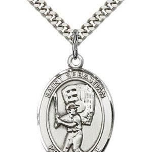 Sterling Silver St. Sebastian / Baseball Pendant