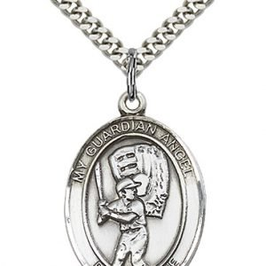 Sterling Silver Guardian Angel/Baseball Pendant
