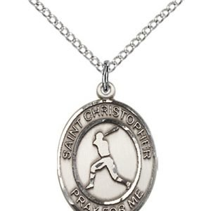Sterling Silver St. Christopher/Baseball Pendant