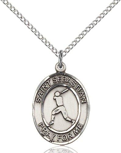 Sterling Silver St. Sebastian/Baseball Pendant