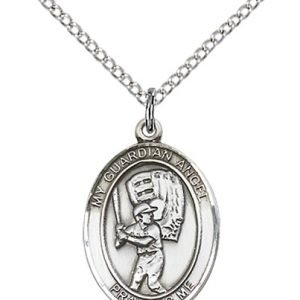 Sterling Silver Guardian Angel / Baseball Pendant
