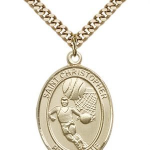 Gold Filled St. Christopher/Basketball Pendant