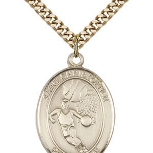 Gold Filled St. Sebastian / Basketball Pendant
