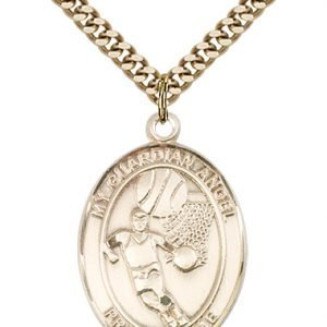 Gold Filled Guardian Angel/Basketball Pendant