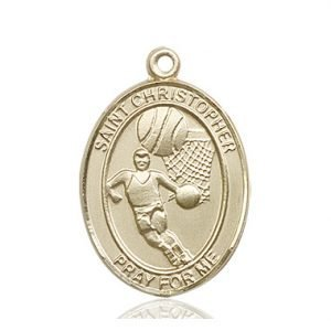 14kt Gold St. Christopher/Basketball Medal