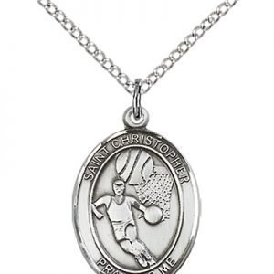 Sterling Silver St. Christopher/Basketball Pendant