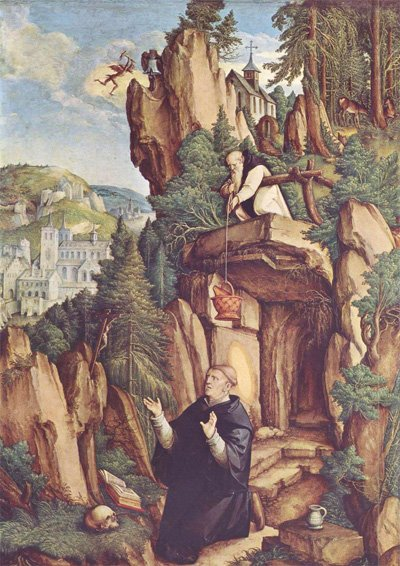 St Benedict receiving food