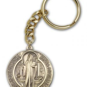 Antique Gold St Benedict Keychain