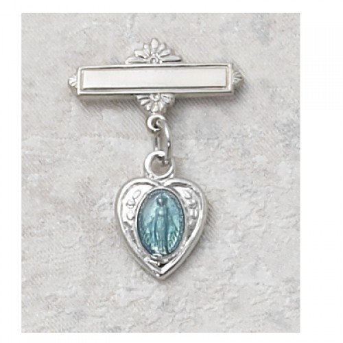 Blue Heart Miraculous Medal Baby Pin in Sterling Silver