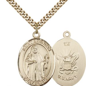 14kt Gold Filled St. Brendan the Navigator -  Navy Pendan