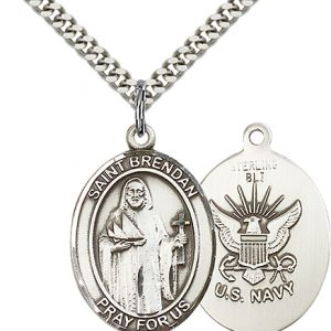 Sterling Silver St. Brendan the Navigator -  Navy Pe