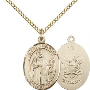 14kt Gold Filled St. Brendan the Navigator - Navy Penda