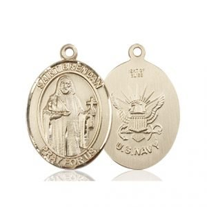 14kt Gold St. Brendan the Navigator - Navy Medal