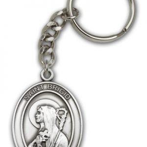 Antique Silver St Brigid of Ireland Keychain