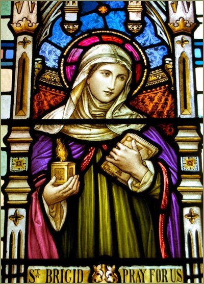 Stained Glass Window Featuring St. Brigid