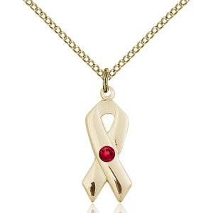 Cancer Awareness Pendant - July Birthstone - Gold Filled #88909